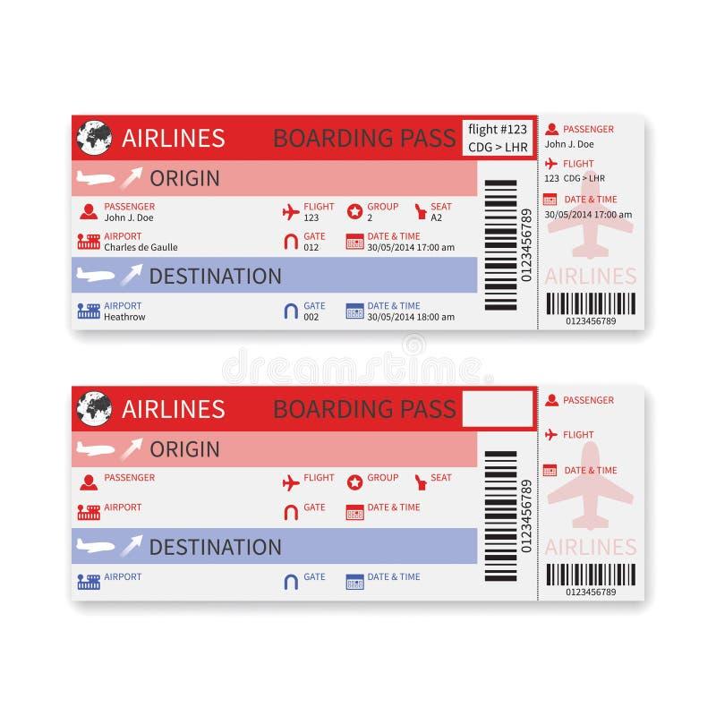 Vector die Fluglinienbordkartekarte, die auf weißem Hintergrund lokalisiert wird lizenzfreie abbildung