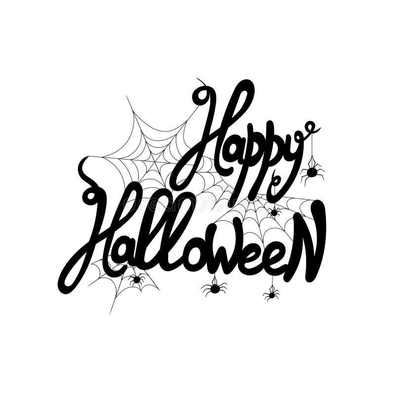 Vector die Gelukkig Halloween van letters voorzien! Met Web en Spin, 31 Oktober Groetkaart stock illustratie