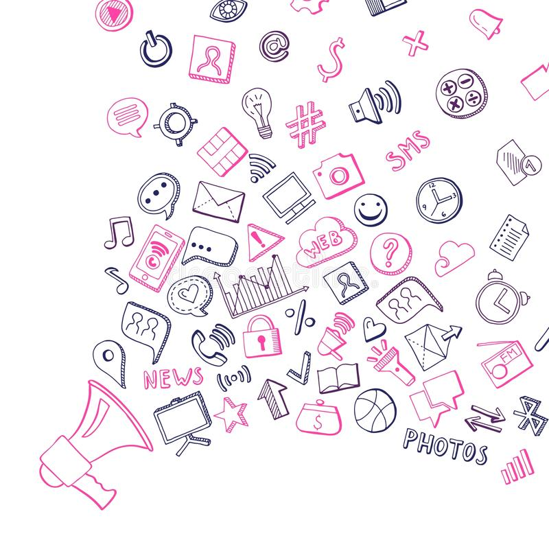 Vector die gezeichneten Elemente des Social Media Hand, die aus Lautsprecherhintergrund heraus fliegen stock abbildung