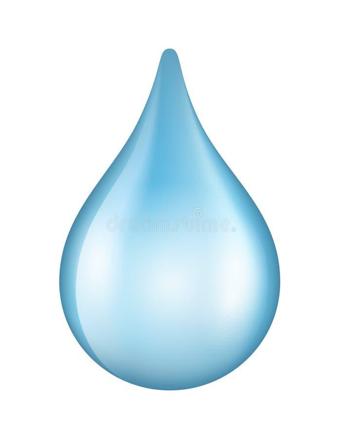 Vector die glänzende Tropfenikone des blauen Wassers, die auf weißem Hintergrund lokalisiert wird vektor abbildung