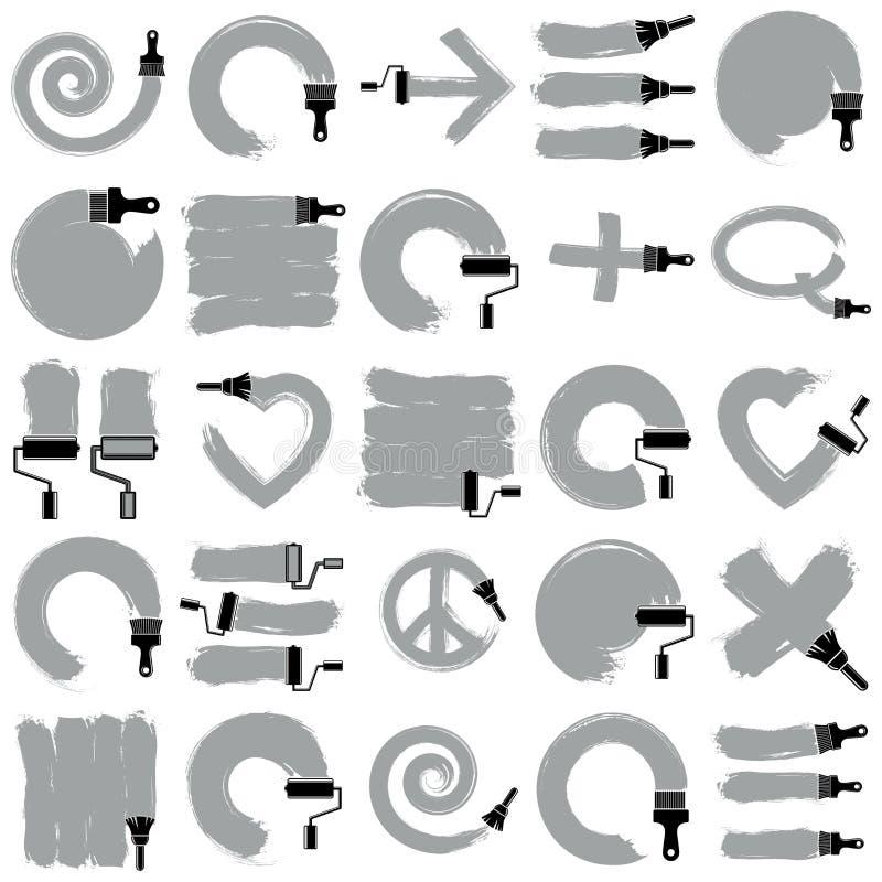 Vector die handgemalte Zeichensammlung der Kunst, die mit Fleck- bru geschaffen wird vektor abbildung