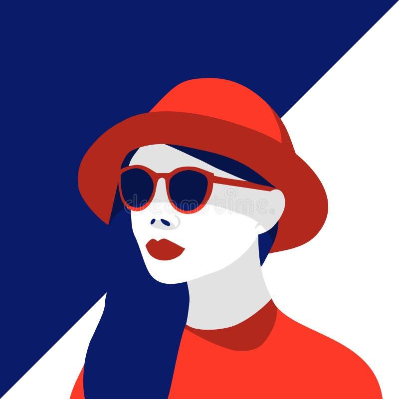 Vector die Illustration der modernen Frau roten Hut und stilvolle Sonnenbrille tragend Kontrast, negativer Raum stock abbildung