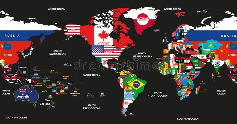 Vector die Illustration der Weltkarte verbunden mit Staatsflaggen mit den Land- und Ozeannamen, die durch Amerika zentriert werde lizenzfreie abbildung