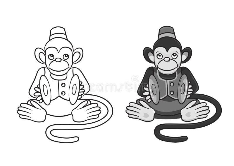 Vector die Illustration des Affen das Stoßhandbecken spielend, das auf dem Kissen sitzt lizenzfreie abbildung