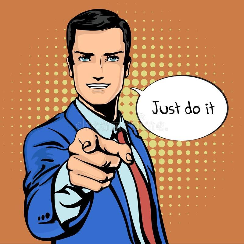 Vector die Illustration des erfolgreichen Geschäftsmannes Finger im Weinlesepop-arten-Comicsretrostil zeigend Gleiche und Positiv lizenzfreie abbildung