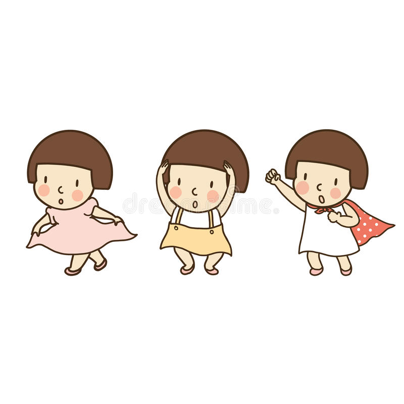 Vector die Illustration des Kleinkindes gestikulierend, danken Sie Ihnen, okay/ja und Kampf vektor abbildung