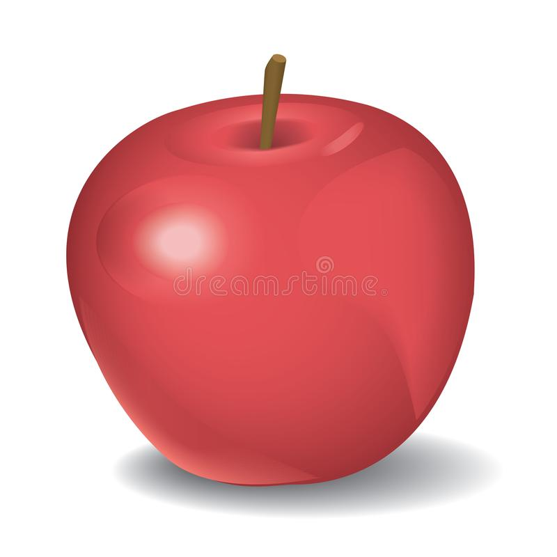 Vector die Illustration des roten Apfels lokalisiert auf Weiß lizenzfreie stockfotos