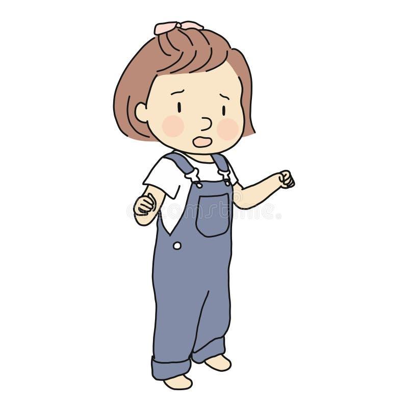 Vector die Illustration des unglücklichen Kleinkindes schreiend und jammernd Frühkindliche Entwicklung - Kind emotional und Verha lizenzfreie abbildung