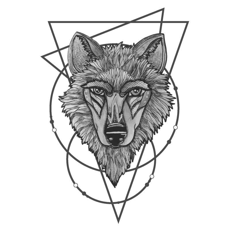 Vector die Illustration eines Heulenwolfs und gravieren Druck für T-Shirts stock abbildung