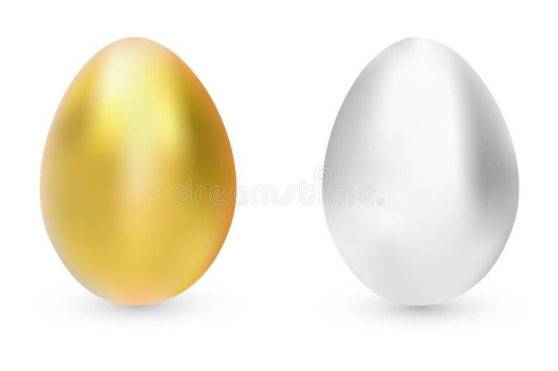 Vector die Illustration, Gold und silberne Eier, die auf weißem Hintergrund mit Schatten lokalisiert werden Goldenes Ei über grün stock abbildung