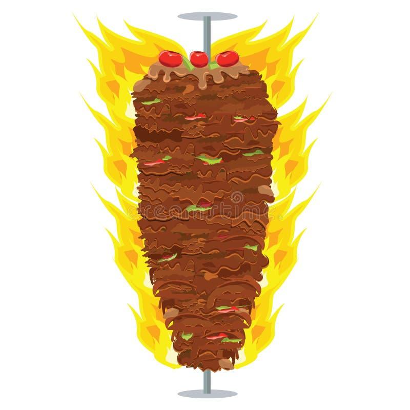 Vector die Illustration von Doner-Kebab auf Pfosten und grillen mit Fett vektor abbildung