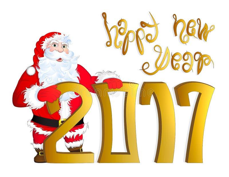Vector die Illustration von Santa Claus das guten Rutsch ins Neue Jahr 2017 beglückwünschend lizenzfreie abbildung