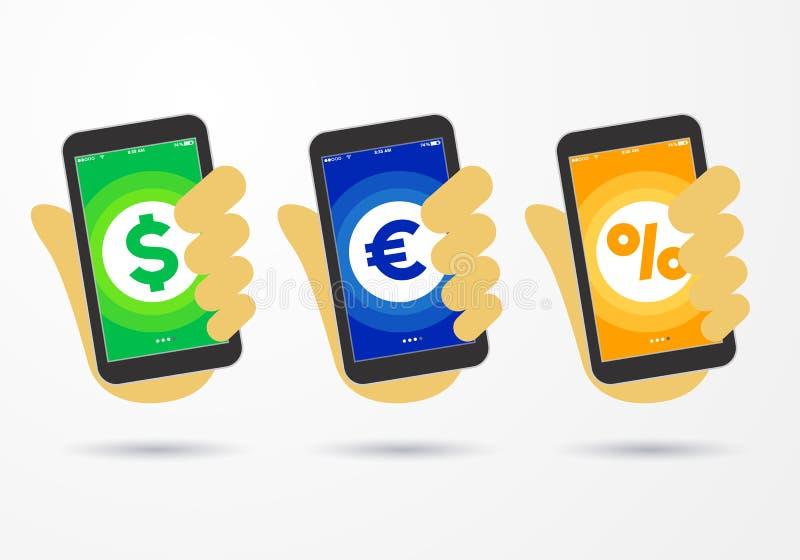 Vector die Illustrationshand, die Smartphone mit kreativer flacher Artikone für Geschäftsmitteilungsseite, Dollareuroprozentzeich lizenzfreie abbildung