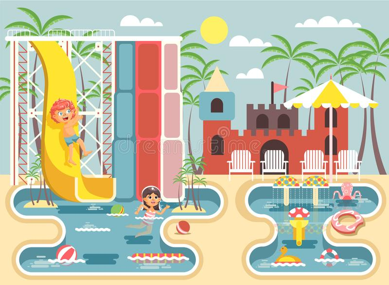 Vector die Illustrationszeichentrickfilm-figur-Kinder, Jungenreitwasserrutsche- und MädchenSwimmingpool, die scherzen oder stills vektor abbildung