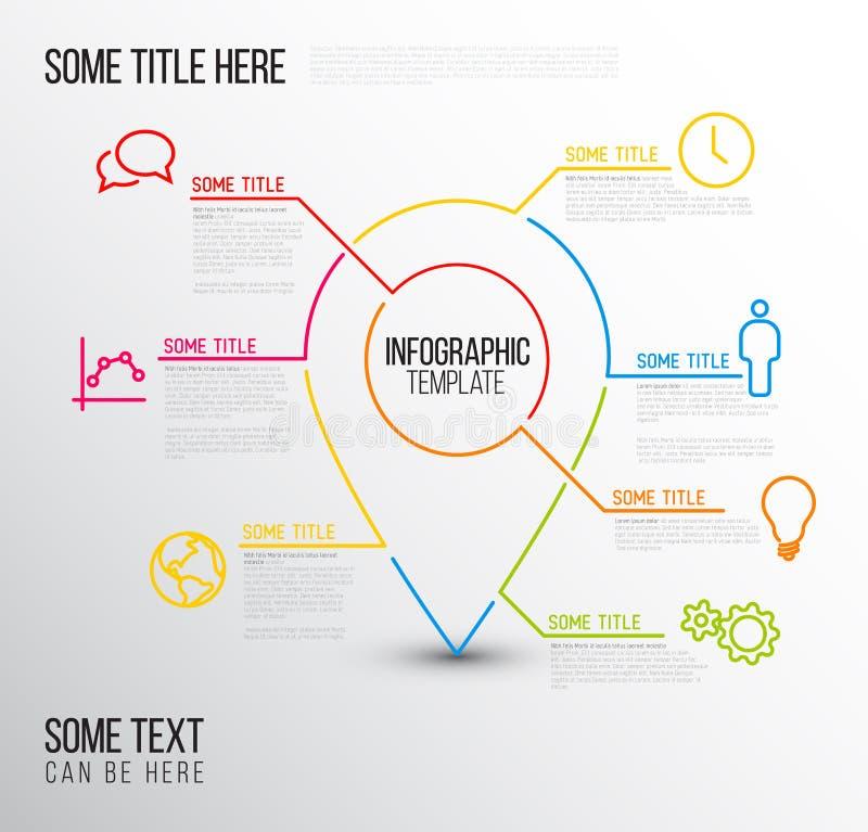 Vector die Infographic-Berichts-Standortschablone, die von den Linien und von den Ikonen gemacht wird lizenzfreie abbildung