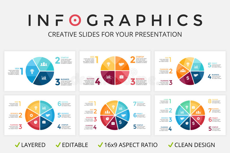 Vector die infographic Kreispfeile, Zyklusdiagramm, Diagramm, Darstellungsdiagramm lizenzfreie abbildung