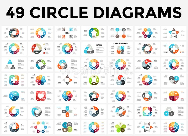 Vector die infographic Kreispfeile, Zyklusdiagramm, Diagramm, Darstellungsdiagramm Geschäftskonzept mit 3, 4, 5, 6, 7, 8 vektor abbildung