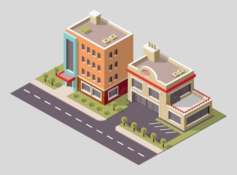 Vector die isometrische Ikone oder infographic Element, die niedriges Polyfabrikgebäude und industrielle Strukturen darstellen Ge stock abbildung