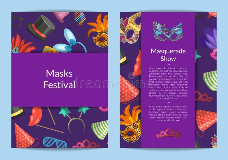 Vector die Karten- oder Fliegerschablonen, die mit Masken und Partei eingestellt werden lizenzfreie abbildung