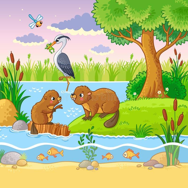 Vector die met dieren en aard in een kinderen` s stijl wordt geplaatst vector illustratie