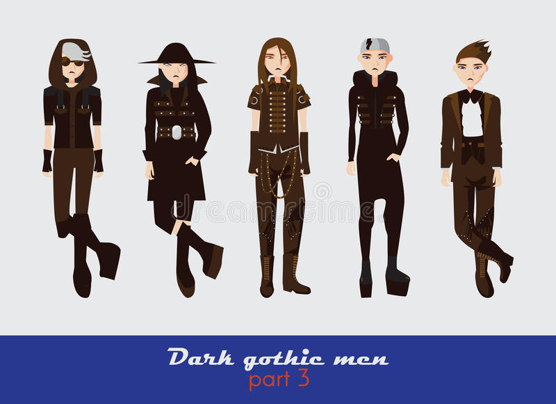 Vector die met donkere gotische jonge mensen wordt geplaatst Kerels die en zich bij toeschouwer bevinden letten op Donkere die kl vector illustratie