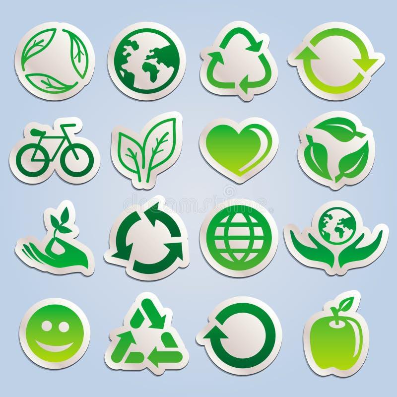 Vector die met ecologiestickers wordt geplaatst stock illustratie