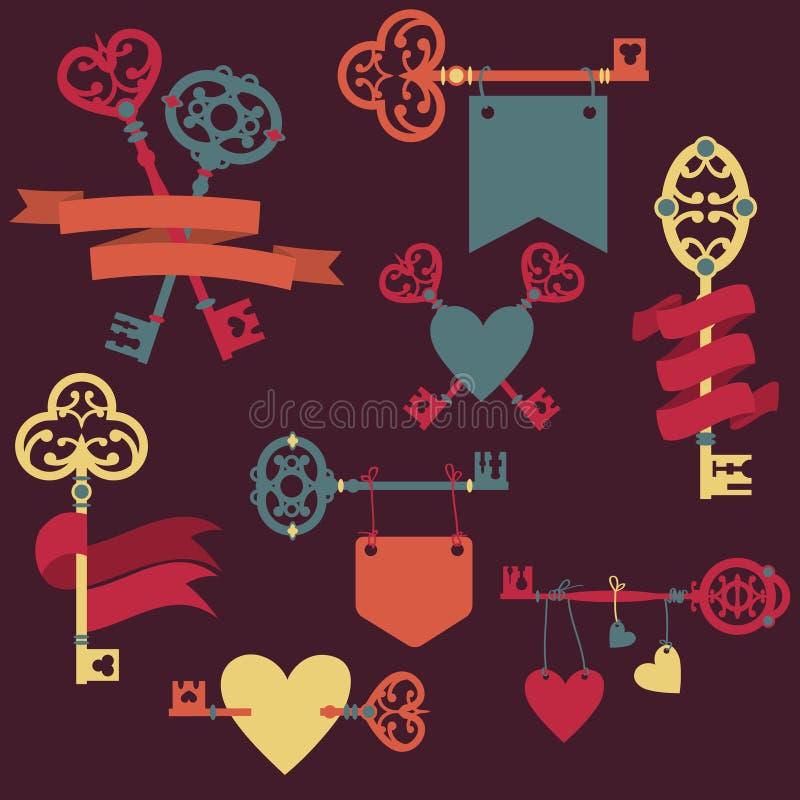 Vector die met uitstekende sleutels, linten en harten wordt geplaatst vector illustratie
