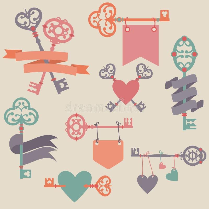 Vector die met uitstekende sleutels, linten en harten wordt geplaatst stock illustratie
