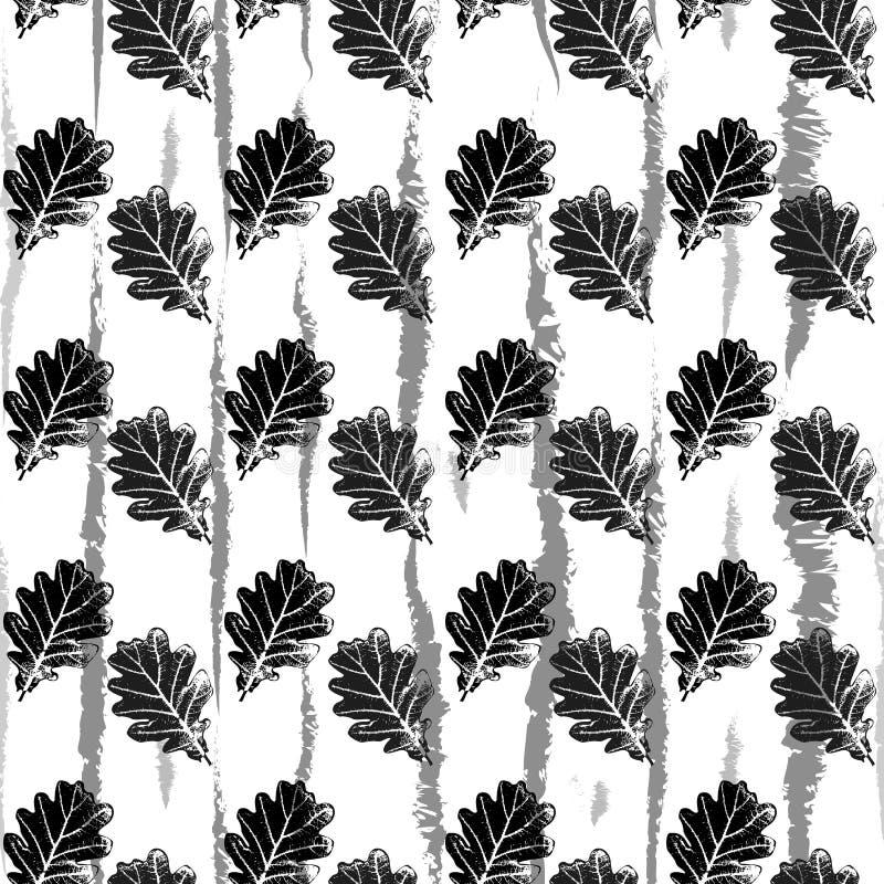 Vector die naadloos patroon met eiken bladeren herhalen stock illustratie