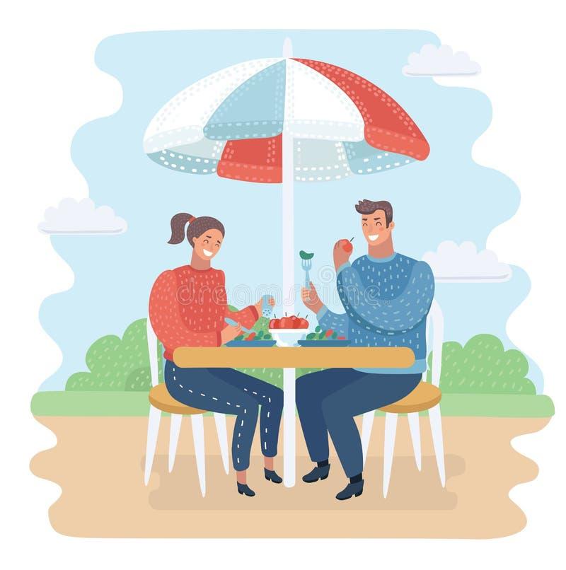 Vector die Paare, die im Straßencafé zu Abend essen Städtisches Konzept lizenzfreie abbildung