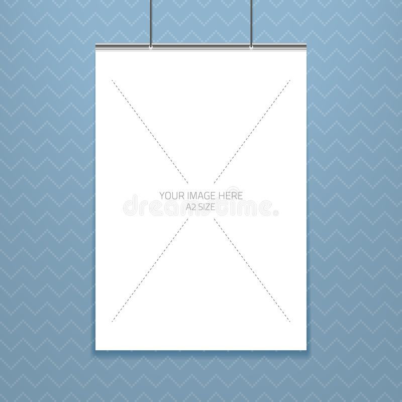 Vector die Plakatschablone eines Blattes des leeren Papiers im Rahmen, gesetzt auf die Wand stock abbildung