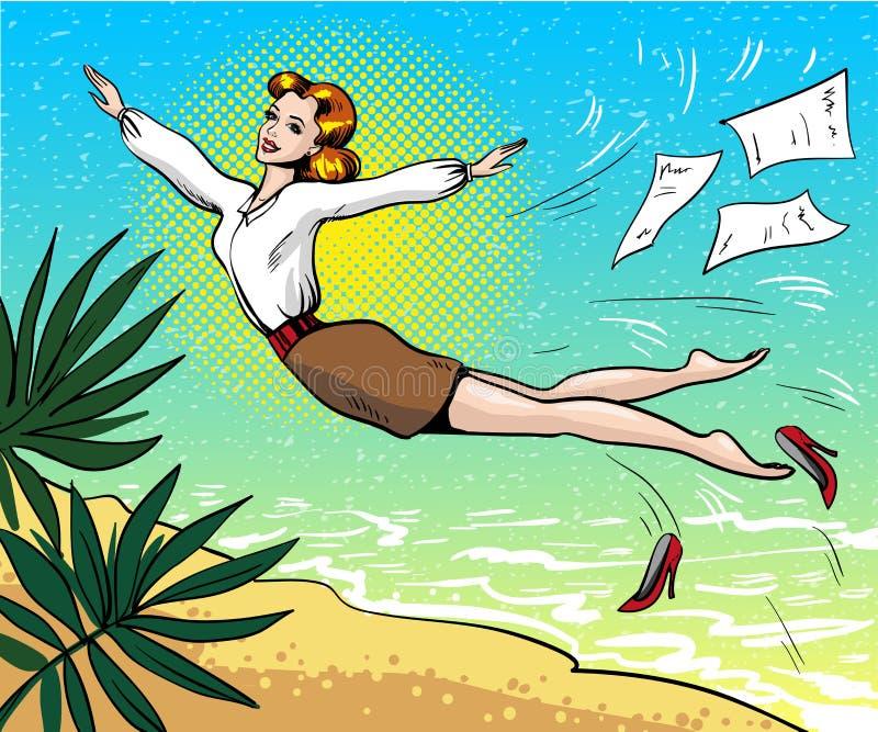 Vector die Pop-Arten-Illustration der Geschäftsfrau träumend über Sommerferien lizenzfreie abbildung