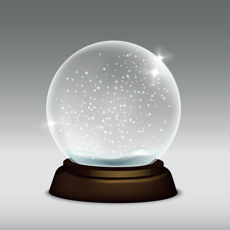 Vector die realistische Illustration der Schneekugel lokalisiert auf grauem Hintergrund vektor abbildung