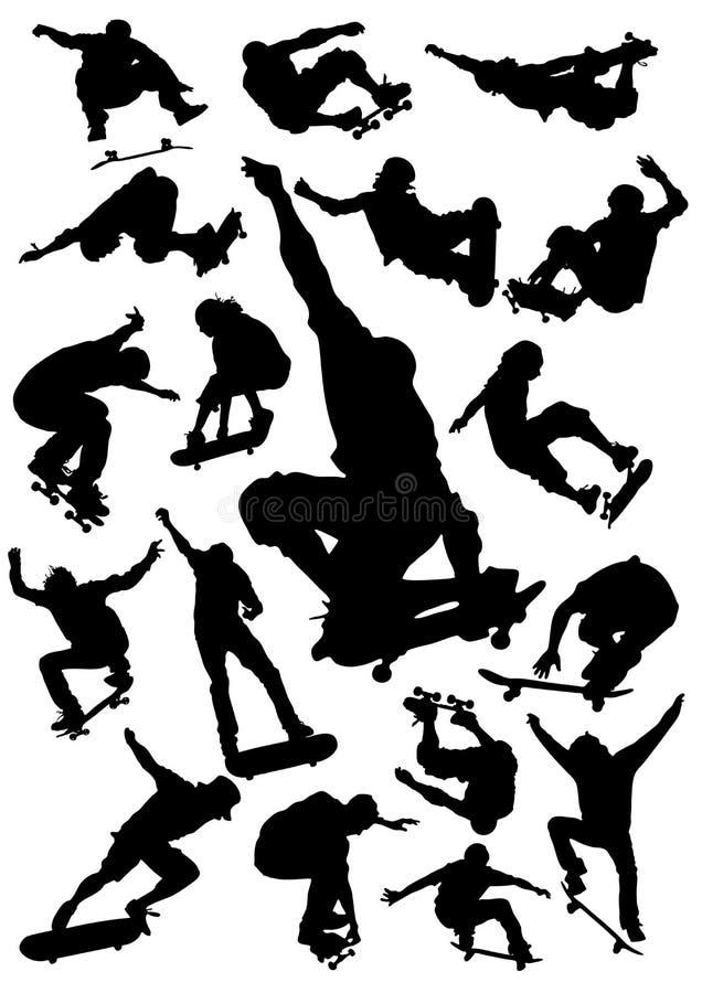 Vector die Reeks met een skateboard rijdt royalty-vrije illustratie