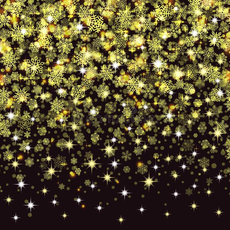 Vector die Schneeflocken, die auf goldenen Schnee des blauen Hintergrundes fallen lizenzfreie abbildung