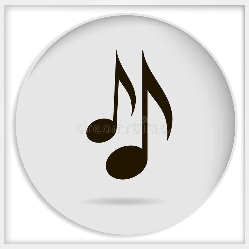 Vector die schwarze Musikanmerkung der Ikone, die auf weißem Hintergrund lokalisiert wird Musik stock abbildung