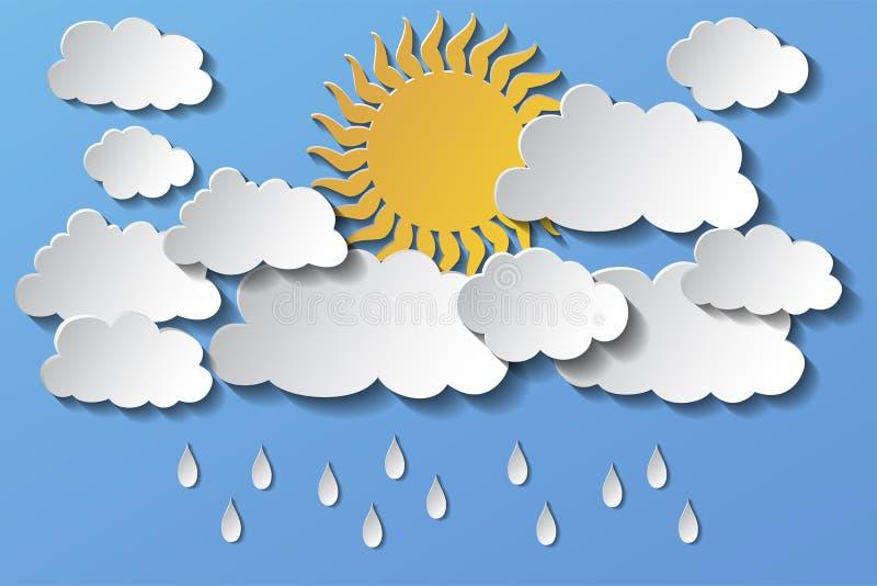 Vector die Sonne, die hinter Wolken und Regen im Nachmittag versteckt wird ENV 10 lizenzfreie abbildung