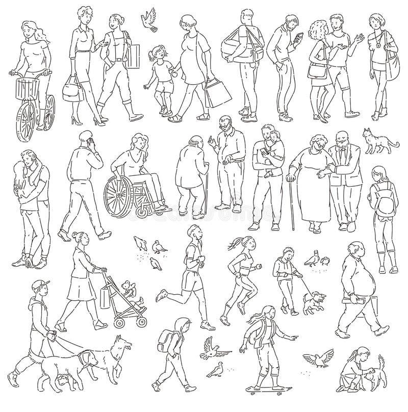Vector die stedelijke menigte op straat in stad lopen Kinderen en volwassenen in diverse situaties Vrouw met jonge geitjesmensen  vector illustratie