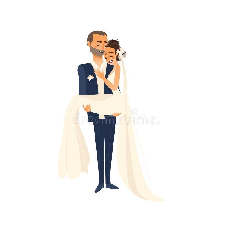 Vector die tragende Braut des Bräutigams, die in seinen Armen hält lizenzfreie abbildung