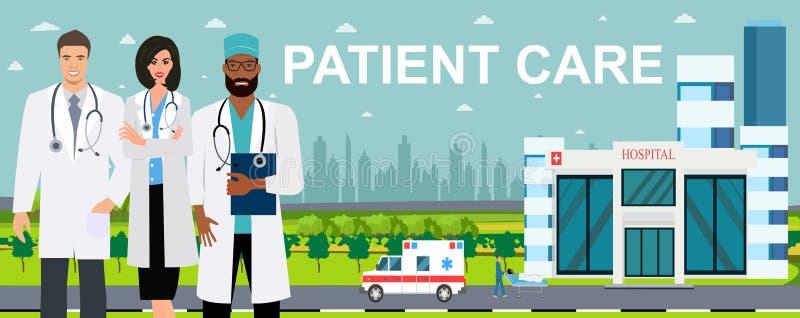 Vector die van artsenteam zich op een het ziekenhuisgebouw bevinden, de achtergrond van de ziekenwagenauto stock illustratie