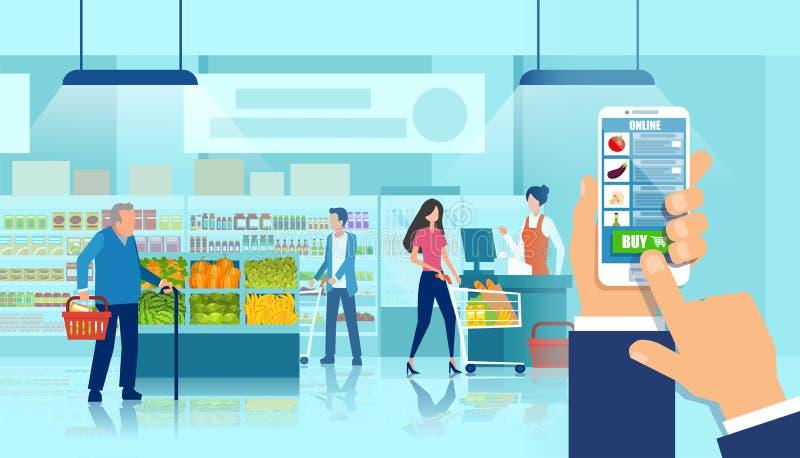Vector die van een smartphone van de handholding kruidenierswinkel het winkelen app gebruiken vector illustratie