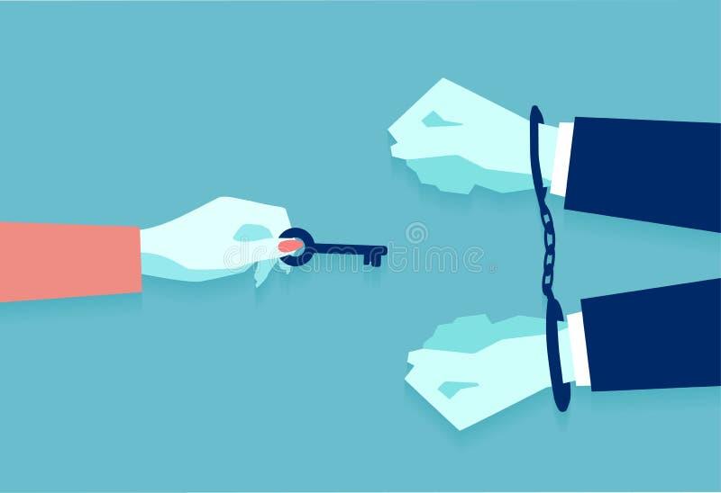 Vector die van een vrouwelijke hand, mannetje van handcuffs openen door sleutel die vrij hem sturen stock illustratie