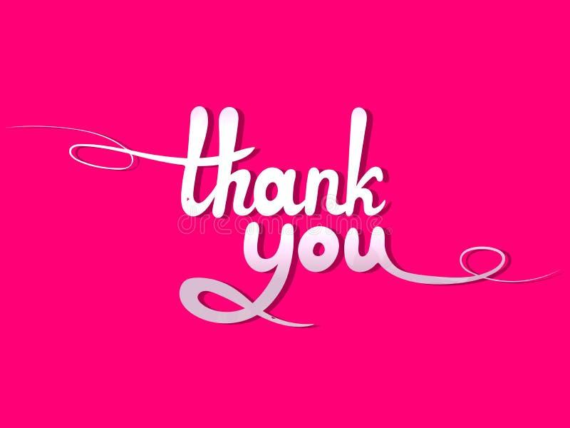 Vector die van letters voorzien: Dank u, Wit Ontwerpelement op Roze Achtergrond vector illustratie