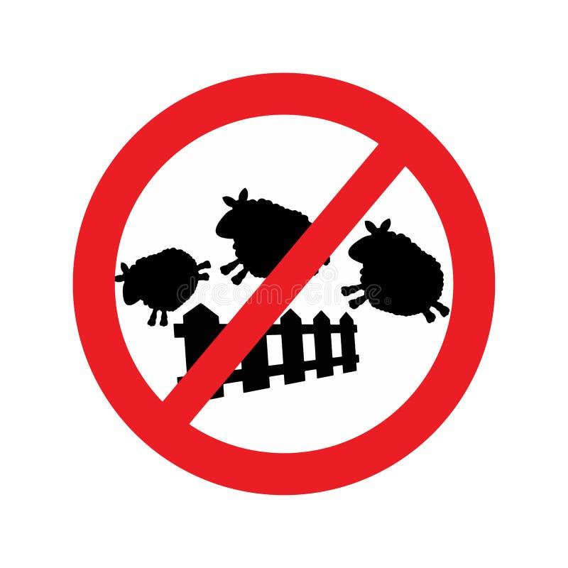 Vector die van schapen over een omheining met Rood verboden verkeer springen stock illustratie