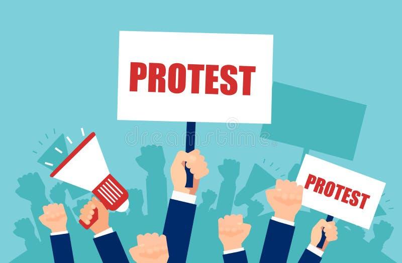 Vector die van veelvoudige handen protesttekens en megafoon, menigte houden van mensen boos met politiek vector illustratie