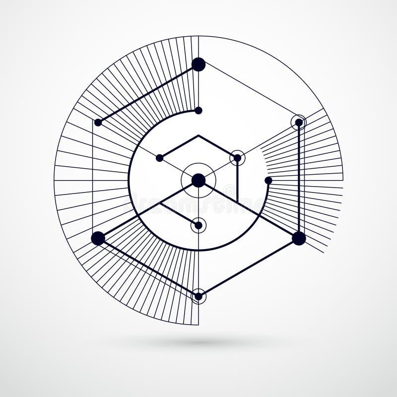 Vector die Zeichnung des Schwarzweiss-Industriesystems hergestellt mit Linien und W?rfeln 3D Moderne geometrische Zusammensetzung stock abbildung