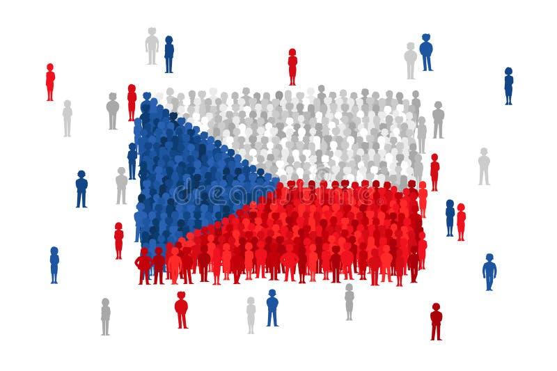 Vector die Zustandsflagge der Tschechischen Republik, die von der Menge von Karikaturleuten gebildet wird vektor abbildung