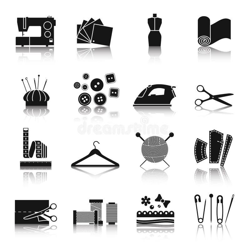 Vector die zwart-witte pictogramreeks naaien stock illustratie