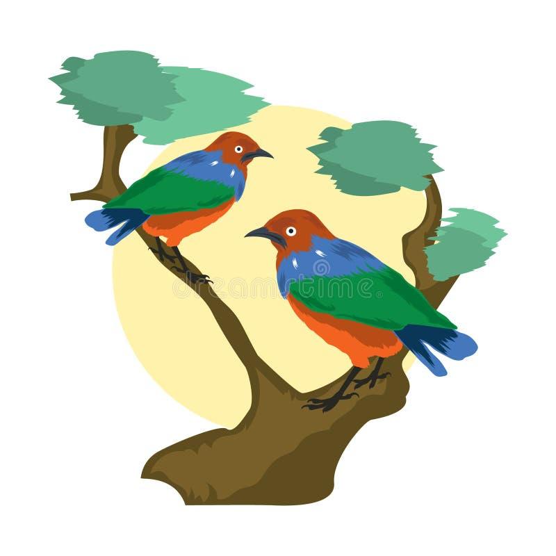 Vector dierlijke illustratie Vectordieillustratie van een paar starlings op een boomtak wordt neergestreken stock illustratie