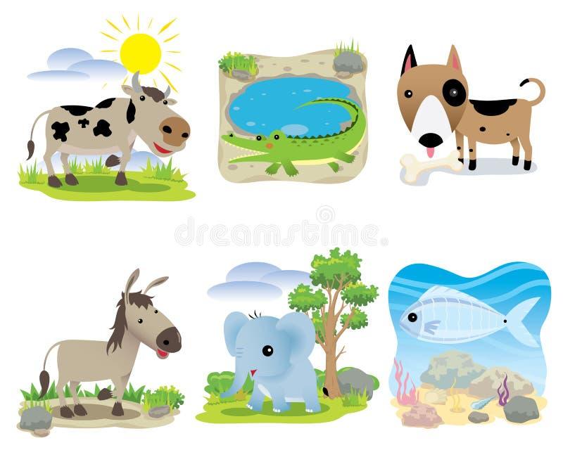 Vector dierlijke reeks, koe, krokodil, hond, ezel, olifant, vissen, stock illustratie